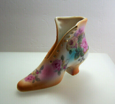 Vtg 1960s Ceramic Victorian Style Painted Roses Shoe Boot Marked R S Gold Trim!