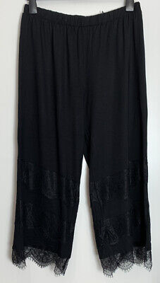 Asos Sample Black Stretch Jersey Lounge Wear Lace Detail Cropped Pants Size 12