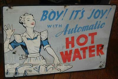 Rare Vintage Boy Its Joy With Automatic Hot Water Advertising Cardboard Sign