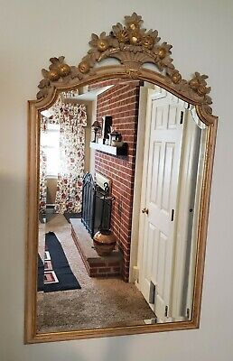 Carved Wood French Provincial Harvest Motif Wall Mirror Decorative Crafts Inc.