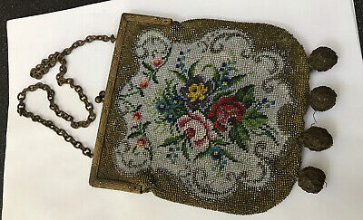 Antique Vintage Cut Steel Micro Bead Beaded Petit Point Evening Bag Purse French