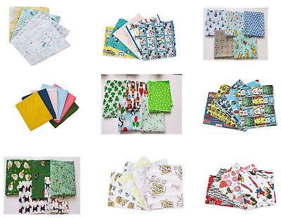 100% cotton fabric Fat Quarter BUNDLE various designs prints pack size