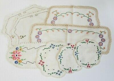 Lot Of 8 Vintage Hand Embroidered Doilies Floral Needlepoint Pink Green Blue