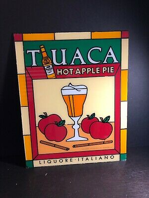Vintage 1980s Tuaca Glass Advertisement Liquore Italiano HOT APPLE PIE