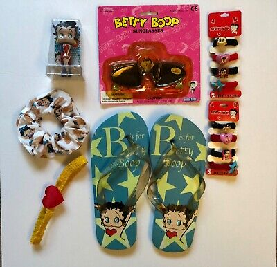 Betty Boop Lot Assorted Collectibles- hair accessories, Flip flops, etc 7 items