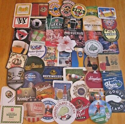 50 New US  & Imported Beer Coasters! No Dupes!  Only $11.49! Save on 2+ Lots!