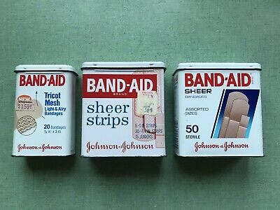 Lot 3-Vintage Band Aid Plastic Strips Bandage Metal Tin Boxes Johnson & Johnson