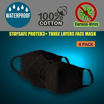 Lot 3 BLACK Pack - StaySafe 100% Cotton Three Layer Cloth Face Mask Reusable