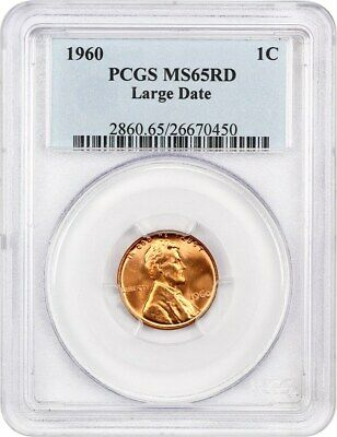 1960 1c PCGS MS65 RD (Large Date) Lincoln Memorial Small Cents (1959-2008)