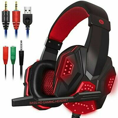 Cuffie da gioco da 3,5 mm con microfono Cuffie LED per PC laptop PS4 Xbox One