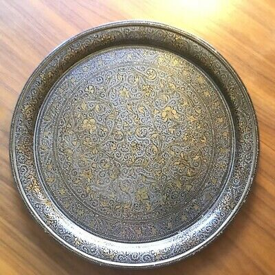 Antique Middle Eastern, Asian, Indian Silver Plate and Brass Tray