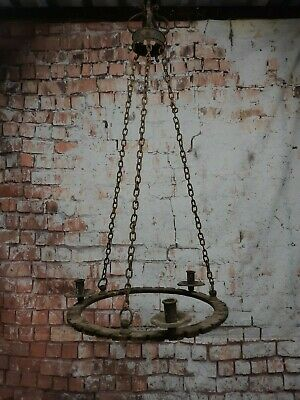 Antique Vintage Gothic Wrought Iron Large 3 Arm Chandelier Arts Crafts Medieval