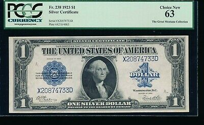 AC Fr 238 1923 $1 Silver Certificate  PCGS 63 UNCIRCULATED