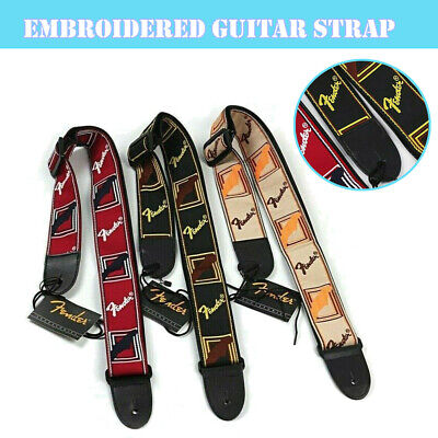Embroidered Guitar Strap Adjustable Fender Strap for Electric Acoustic Guitar UK