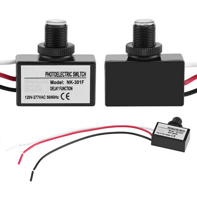 2x Photoelectric Sensor Switch Dusk to Dawn Photocell Light Sensor 120VAC-277VAC
