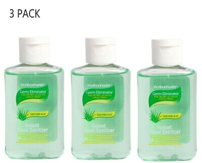 Perfect Purity Soothing Aloe HAND SANITIZER 2 OZ KILLS 99.99% OF GERMS (3 PACK)