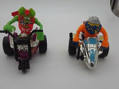 """RAT FINK & DRAG NUT Ride again! 1990- 3"""" figures created by Ed """"Big Daddy"""" Roth."""
