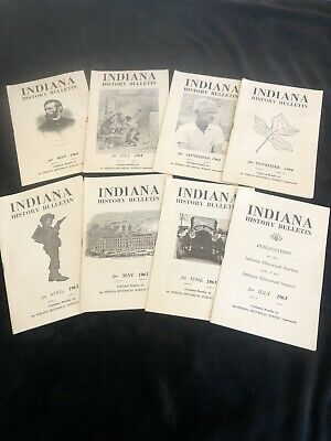 Lot Of 8 Vintage Indiana History Bulletins By State Historical Bureau 1964-1965