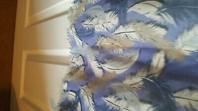 peony large blue, grey and white feather print scarf