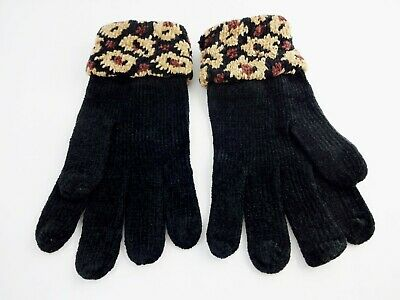 Black Gloves With Animal Print Cuffs Wrist Length Ladies One Size Acrylic Knit