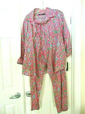 NWT XL Ralph Lauren Cotton Pajama 2 Pc Set Pink Floral-3/4 Sleeve-Long Pants