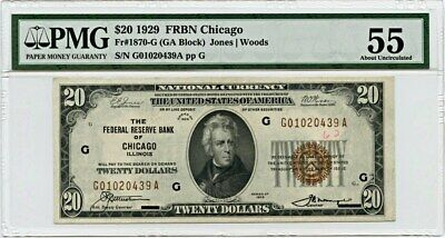 FR. 1870G 1929 $20 FRBN Chicago PMG About Unc 55 (Annotation)