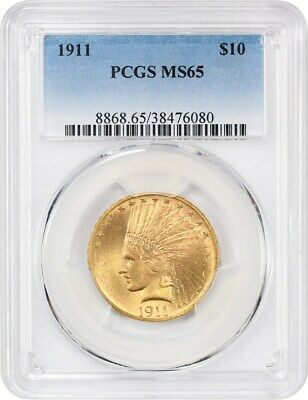 1911 $10 PCGS MS65 - Slightly Better Date - Indian Eagle - Gold Coin