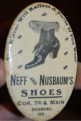 Antique Neff Nusbaum's Vintage Shoes Indiana Advertising Celluloid Pocket Mirror
