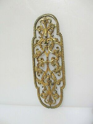 Victorian Brass Pierced Finger Plate Push Door Handle Antique Old