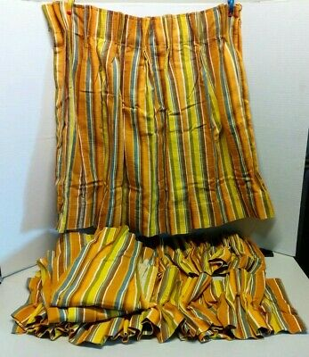 Vintage Mid Century Orange Yellow Multi Colored Stripped Pinch Pleat Curtains