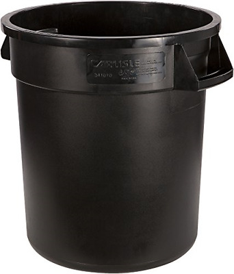 Bronco Round Waste Container Only, 10 Gallon, Black Sturdy Construction