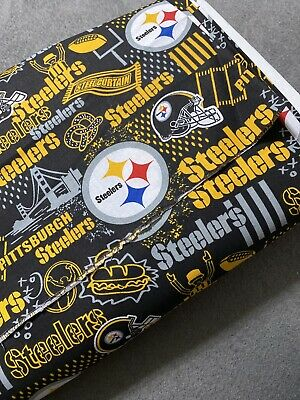 """NFL Pittsburgh Steelers Hometown 1/4 Yd Cotton Fabric For DIY Masks (HTF) 9""""x44"""""""
