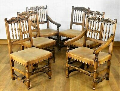 Very nice quality set of antique style 6 carved dining chairs