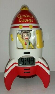 Vintage Curious George Talking Spaceship Rocket Alarm Clock - 1999 Rare - Works