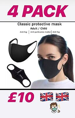 4 X Washable Face Mask- Fabric Reusable Uk Seller 🇬🇧🇬🇧 Free Postage