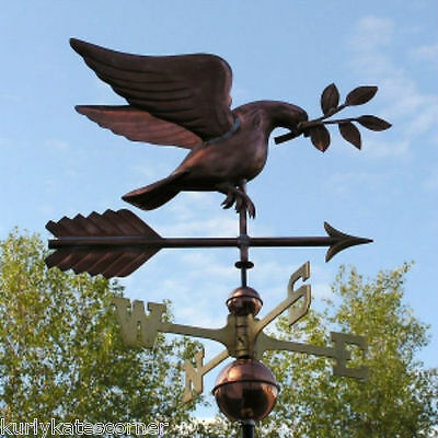 Copper Dove  Weathervane With Copper Balls And Brass Directionals #239