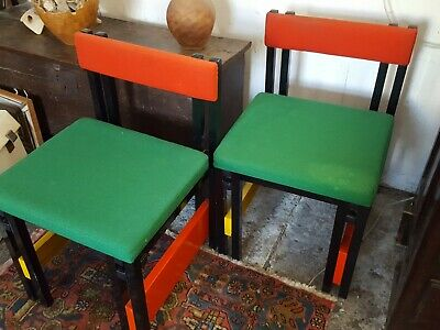Mondrian style chairs , pair 70s  80s