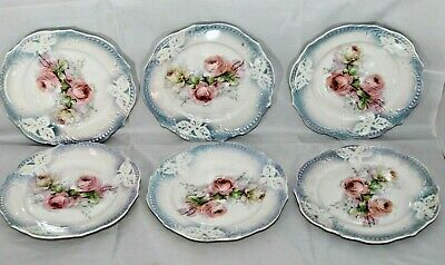 "Antique German Floral Pattern 6"" Bread and Butter Plates Set of 6"