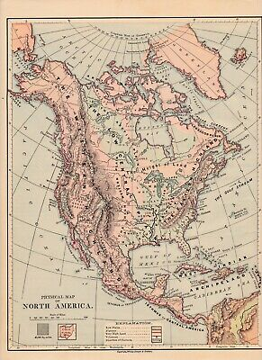 ca 1880 North America Physical map very good condition