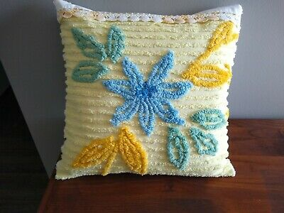 Vintage Chenille Spread Pillow Yellow W/ Blue Flower Crochet Trim 16""