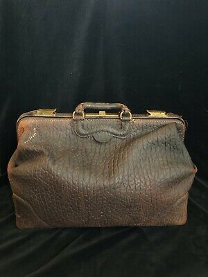 Vintage 1914 LEATHER DOCTOR BAG Seal Walrus Large Satchel Tote Brown