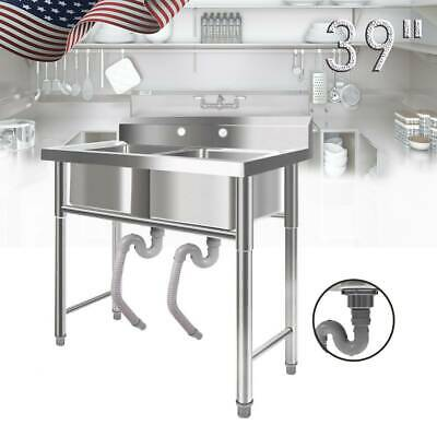 """39"""" Wide Stainless Steel Bar 2 Compartment Sink Kitchen Outdoor Commercial USA"""