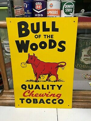 """VINTAGE """"BULL OF THE WOODS TOBACCO"""" METAL ADVERTISING SIGN (18""""x 12""""), NEAR MINT"""
