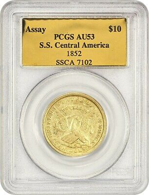 1852 U.S Assay Office $10 PCGS AU53 - Territorial Gold Coin - Shipwreck Recovery