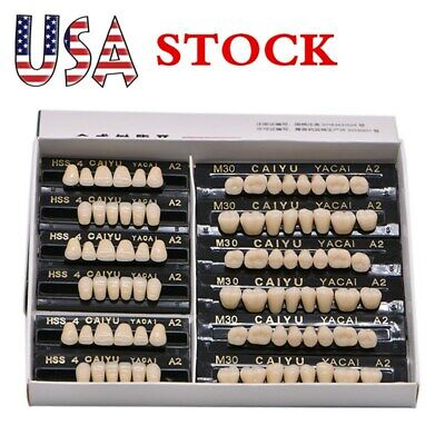 84pcs/box Denture Acrylic Resin Teeth Dental Tooth Upper Lower Shade 23# A2 US