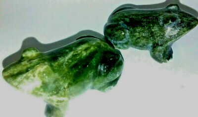 hand craved jade frog figurine green asian statues china gift boxed