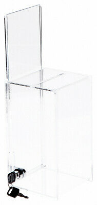 "Plymor Acrylic Locking Ballot / Collection Box w/ Sign Holder, 5""W x 5""D x 9""H"