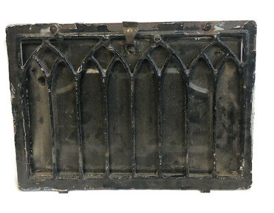 Scarce Antique Iron Wall Heating Grate Vent Cover Cathedral Style 13 X 9