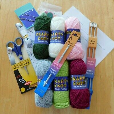 Beginners KNITTING CROCHET KIT Everything Learn to Knit Patterns Needles Wool