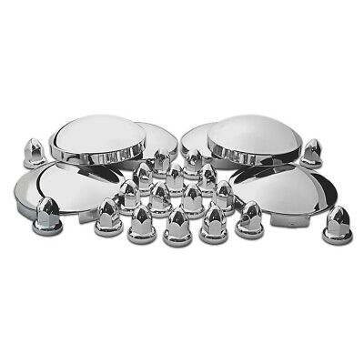 Complete Stainless Steel Hub Cap & Chrome Abs Plastic Nut Cover Kit